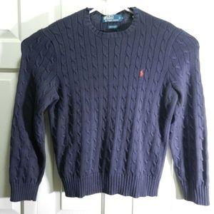 Polo Ralph Lauren Men Sz L Blue Cotton Sweater